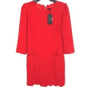 Ted Baker Belleta Scalloped Dress Solid NWT